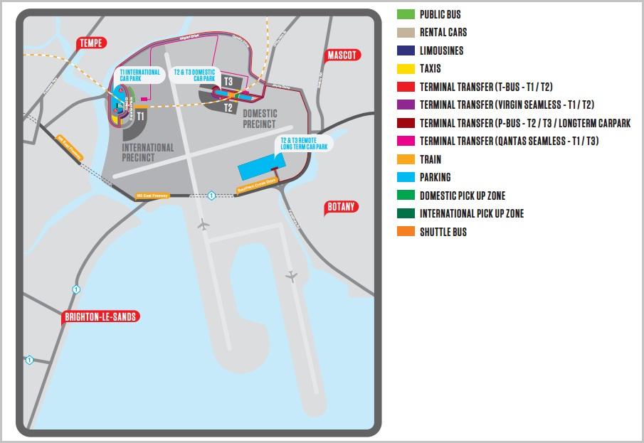 Схема аэропорта Сиднея