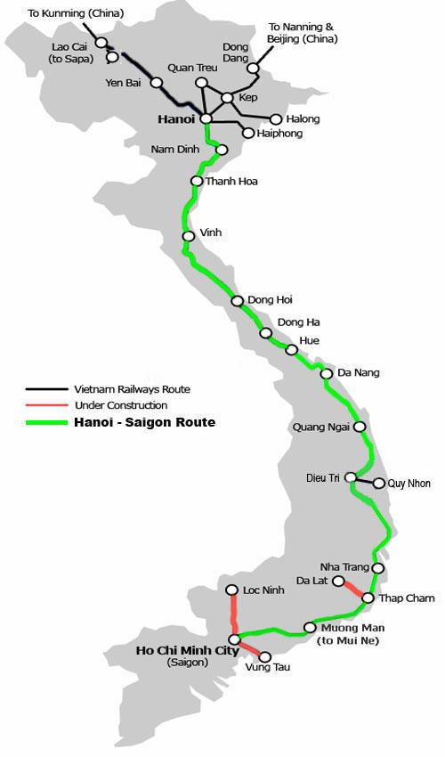 HN-Saigon-rail-map Ханой- Хошимин поезд
