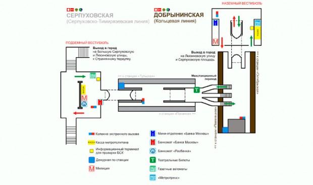 Станция метро добрынинская схема метро