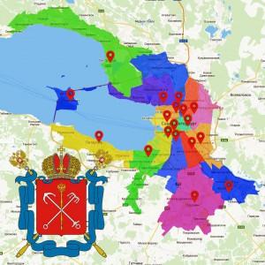 Районы Санкт-Петербурга на карте