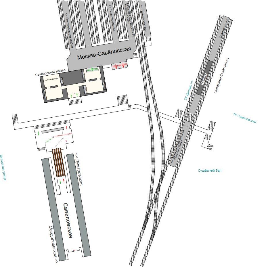 Схема станции метро Савеловская